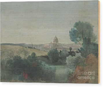 Saint Peter's Seen From The Campagna Wood Print by George Snr Inness