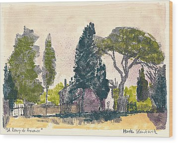 Wood Print featuring the painting Saint Remy De Provence Landscape by Martin Stankewitz