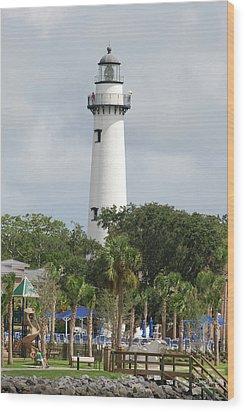 Saint Simons Island Light Wood Print