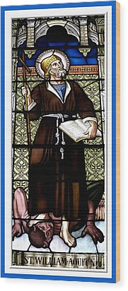 Saint William Of Aquitaine Stained Glass Window Wood Print by Rose Santuci-Sofranko