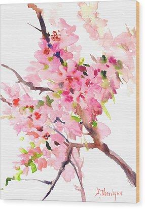 Sakura Cherry Blossom Wood Print by Suren Nersisyan