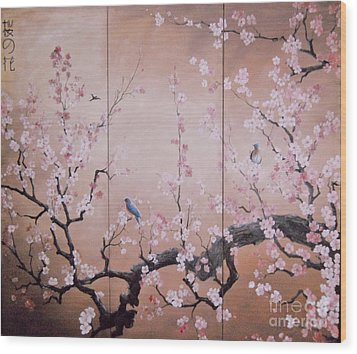 Sakura - Cherry Trees In Bloom Wood Print by Sorin Apostolescu