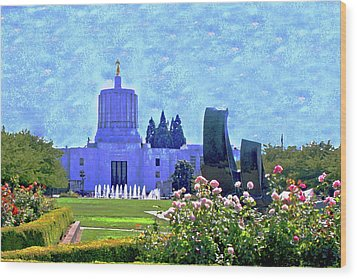 Salem Oregon State Capital Wood Print by Margaret Hood