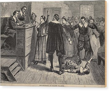 Salem Witch Trials. A Women Protests Wood Print by Everett