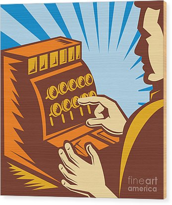 Sales Clerk Or Cashier Wood Print by Aloysius Patrimonio