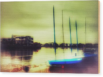 Wood Print featuring the photograph Salford Quays Boats Waiting by Isabella F Abbie Shores FRSA