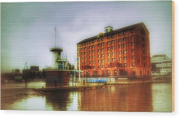 Wood Print featuring the photograph Salford Quays Edge by Isabella F Abbie Shores FRSA