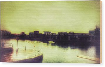 Wood Print featuring the photograph Salford Quays Promenade by Isabella F Abbie Shores FRSA