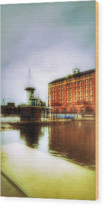 Wood Print featuring the photograph Salford Quays Red Brick Building by Isabella F Abbie Shores FRSA