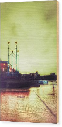 Wood Print featuring the photograph Salford Quays Walkway by Isabella F Abbie Shores FRSA
