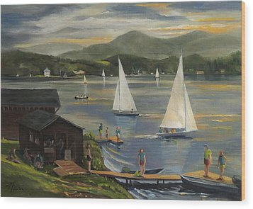Sailing At Lake Morey Vermont Wood Print by Nancy Griswold