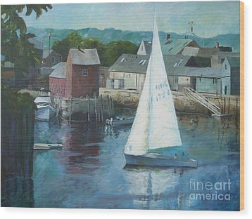Saling In Rockport Ma Wood Print by Claire Gagnon