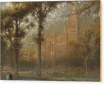 Salisbury Cathedral Wood Print by Albert Goodwin