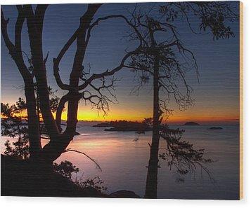 Salish Sunrise Wood Print by Randy Hall