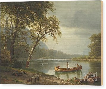 Salmon Fishing On The Caspapediac River Wood Print by Albert Bierstadt