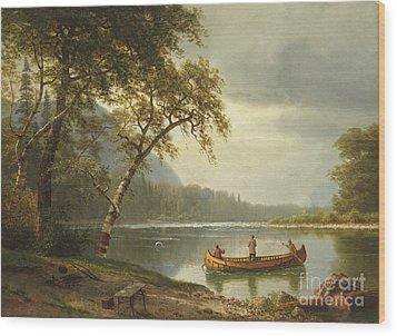 Salmon Fishing On The Caspapediac River Wood Print by Albert Bierstadt