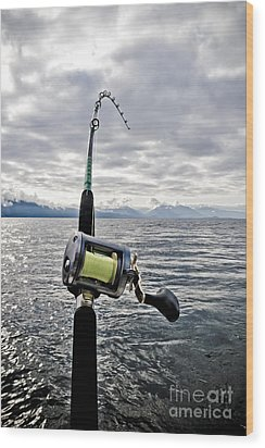 Salmon Fishing Rod Wood Print by Darcy Michaelchuk