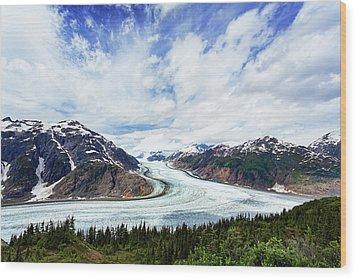 Salmon Glacier Wood Print by Heidi Brand