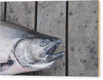 Salmon On Deck Wood Print