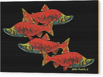 Salmon Season Wood Print