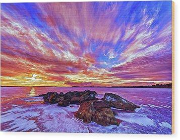 Salmon Sunrise Wood Print by ABeautifulSky Photography