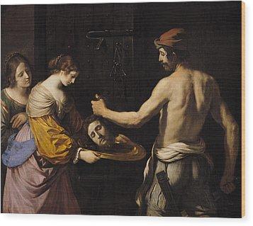 Salome Receiving The Head Of St John The Baptist Wood Print by Giovanni Francesco Barbieri