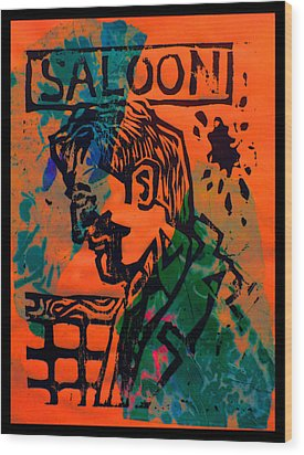 Saloon Wood Print by Adam Kissel