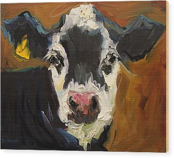 Salt And Pepper Cow Wood Print