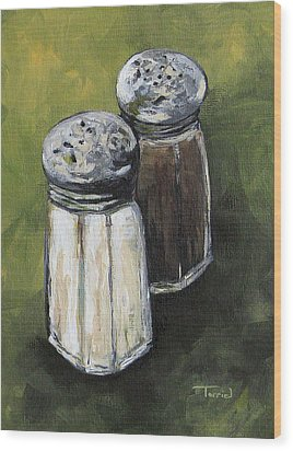 Salt And Pepper On Green Wood Print by Torrie Smiley