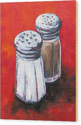 Salt And Pepper On Red Wood Print by Torrie Smiley