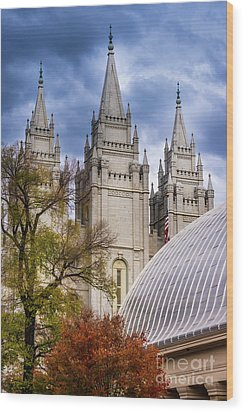 Wood Print featuring the photograph Salt Lake Lds Temple And Tabernacle - Utah by Gary Whitton