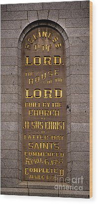 Wood Print featuring the photograph Salt Lake Lds Temple Dedication Plaque Close-up by Gary Whitton