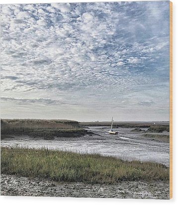 Salt Marsh And Creek, Brancaster Wood Print by John Edwards