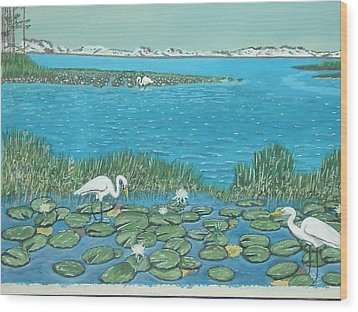 Salt Marsh Egrets Wood Print by Hilda and Jose Garrancho