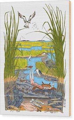 Salt Marsh Wood Print by John Meszaros