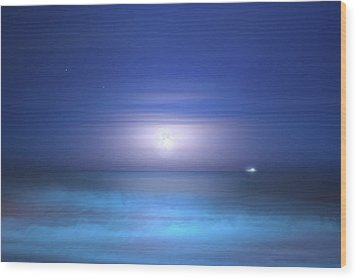 Wood Print featuring the photograph Salt Moon by Mark Andrew Thomas