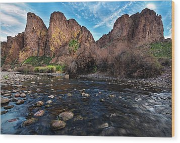 Wood Print featuring the photograph Salt River And The Goldfield Mountains by Dave Dilli
