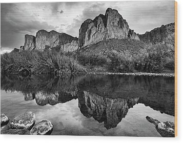 Wood Print featuring the photograph Salt River Reflections In Black And White by Dave Dilli