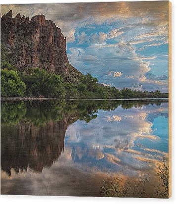 Wood Print featuring the photograph Salt River Sunset Reflections by Dave Dilli