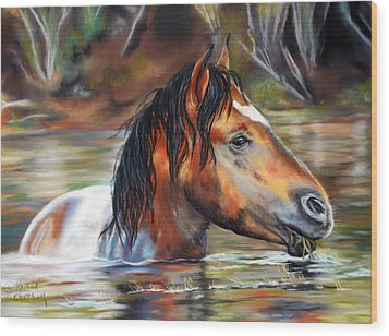 Wood Print featuring the pastel Salt River Tango by Karen Kennedy Chatham
