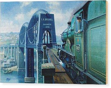 Saltash Bridge. Wood Print by Mike  Jeffries