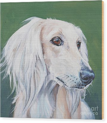 Wood Print featuring the painting Saluki Sighthound by Lee Ann Shepard