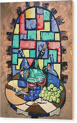 Salute Happy Hour In Tuscany Wood Print by Anthony Falbo