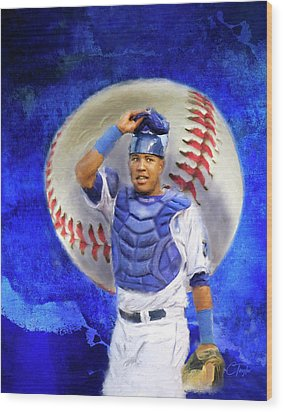 Wood Print featuring the mixed media Salvador Perez-kc Royals by Colleen Taylor