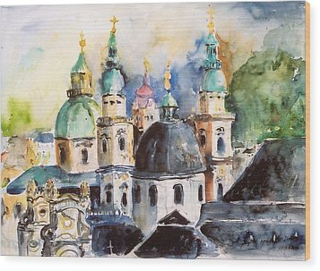 Salzburg Austria Wood Print by Alexandra Maria Ethlyn Cheshire