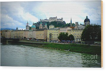 Salzburg Over The Danube Wood Print by Carol Groenen