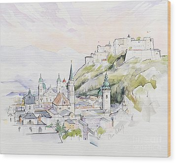 Salzburg Sunrise  Wood Print by Clive Metcalfe