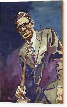 Sam Lightnin Hopkins Wood Print by David Lloyd Glover