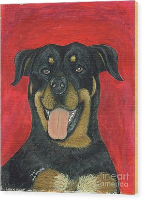 Sam The Rottewieler Wood Print