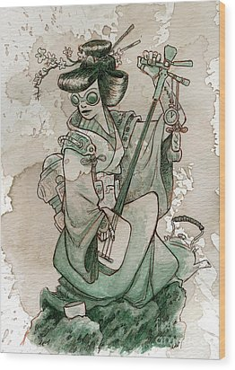 Samisen Wood Print by Brian Kesinger